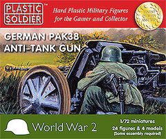 Plastic-Soldier WWII German Pak38 Anti-Tank Gun (4) & Crew (24) Plastic Model Weapon 1/72 Scale #7217