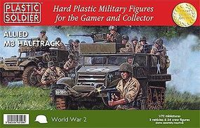 WWII Allied M3 Halftrack (3) & Crew (24) Plastic Model Halftrack Kit 1/72 Scale #7220