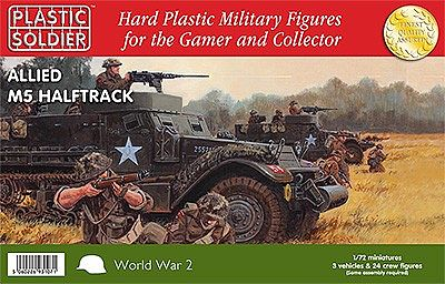 Plastic Soldier WWII Allied M5 Halftrack (3) & Crew (24) -- Plastic Model Halftrack Kit -- 1/72 Scale -- #7221