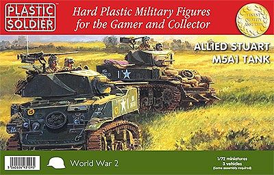 Plastic Soldier WWII Allied Stuart M5A1 Tank (3) -- Plastic Model Tank Kit -- 1/72 Scale -- #7222