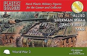 Plastic-Soldier WWII Allied Sherman M4A4 & Firefly Tank (3) Plastic Model Tank Kit 1/72 Scale #7223