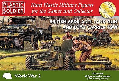 Plastic Soldier WWII British 6-Pounder Anti-Tank Gun And Crew -- Plastic Model Artillery Kit -- 1/72 -- #7226
