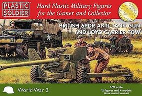 Plastic-Soldier WWII British 6-Pounder Anti-Tank Gun And Crew Plastic Model Artillery Kit 1/72 #7226