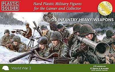 Plastic Soldier WWII US Infantry (57) with Heavy Weapons -- Plastic Model Military Figure -- 1/72 Scale -- #7227
