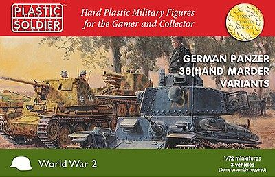 Plastic Soldier WWII German Panzer 38(t) and Marder Variants -- Plastic Model Military Kit -- 1/72 Scale -- #7230