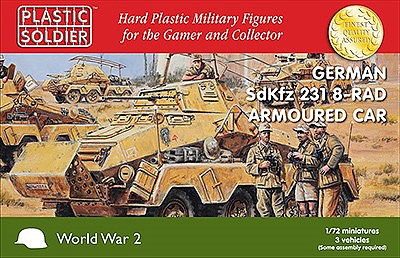 Plastic-Soldier WWII German SdKfz 231 Armoured Car (3) Plastic Model Military Vehicle Kit 1/72 Scale #7239