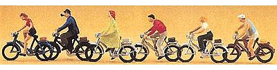 Preiser Kg Recreation & Sports Bike Riders w/Bicycles (6) -- Model Railroad Figures -- HO Scale -- #10091