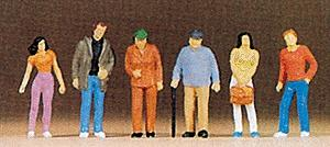 Preiser Pedestrians Standing (6) Model Railroad Figures HO Scale #10117