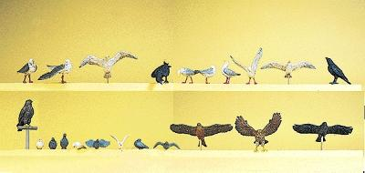 Preiser Kg Pigeons, Seagulls, Crows & Birds Of Prey (22) -- Model Railroad Figures -- HO-Scale -- #10169