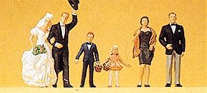 Preiser Wedding Participants Bride, Groom & Guests (6) Model Railroad Figures HO Scale #10339