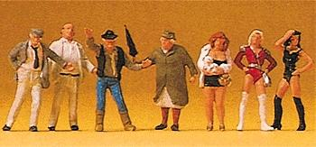 Preiser Spectators Night People (7) Model Railroad Figures HO Scale #10346