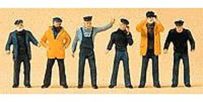Preiser People Working Ships Crewmen (6) Model Railroad Figures HO Scale #10353