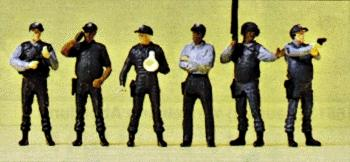 Preiser Police US Special Weapons & Tactics (SWAT) Team (6) Model Railroad Figures HO Scale #10396