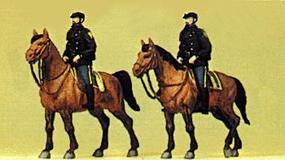 Preiser Police Mounted On Horseback United States Police Model Railroad Figures HO Scale #10397