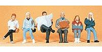 Preiser Passengers Seated Travelers (6) Model Railroad Figures HO Scale #10412