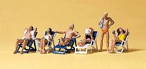 Preiser Recreation & Sports Sunbathers on Folding Chairs (6) Model Railroad Figures HO Scale #10431