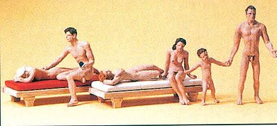Preiser Recreation Nude Bathers with 2 Lounges Model Railroad Figures HO Scale #10439