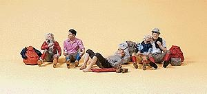 Preiser Recreation & Sports Hikers Resting (6) Model Railroad Figures HO Scale #10442