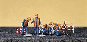 Preiser People Working City Workers w/Accessories (4) Model Railroad Figures HO Scale #10445