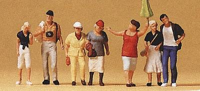 Preiser Spectators Guide w/Tourists (7) Model Railroad Figures HO Scale #10455