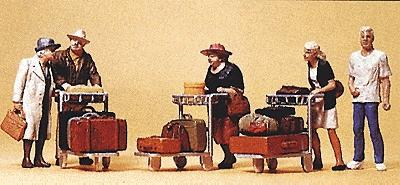 Preiser Passengers Travellers w/Luggage Carts (8) Model Railroad Figures HO Scale #10459