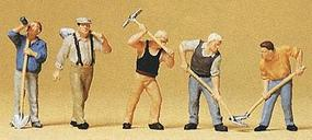 Preiser People Working Workers w/Picks & Shovels (5) Model Railroad Figures HO Scale #10461