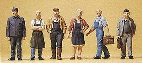 Preiser Pedestrians Village Workers (6) Model Railroad Figures HO Scale #10472