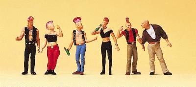 Preiser Kg Pedestrians Punk Rockers (6) -- Model Railroad Figures -- HO Scale -- #10473