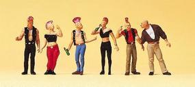 Preiser Pedestrians Punk Rockers (6) Model Railroad Figures HO Scale #10473