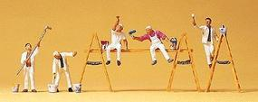 Preiser People Working Paint Crew w/Ladders & Accessories (5) Model Railroad Figure HO Scale #10478