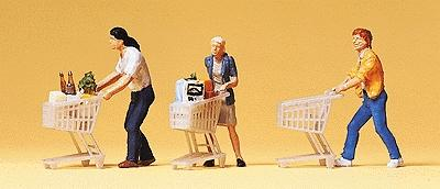 Preiser Kg Pedestrians People w/Grocery Carts (3) -- Model Railroad Figures -- HO Scale -- #10488