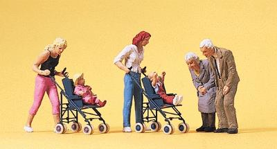 Preiser Mothers w/Children In Strollers & Grandparents Model Railroad Figures HO Scale #10493