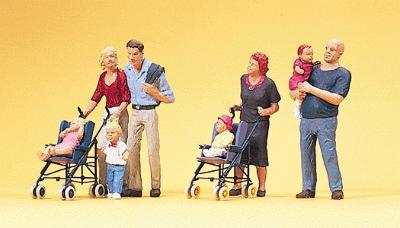 Preiser Pedestrians Parents w/Children & Strollers Model Railroad Figures HO Scale #10494