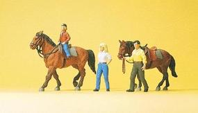 Preiser Sports & Recreation Riders w/Horses #1 Model Railroad Figures HO Scale #10500