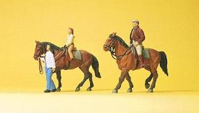 Preiser Sports & Recreation Riders w/Horses #2 Model Railroad Figures HO Scale #10501