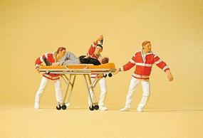Preiser Paramedics w/Stretcher (4) Model Railroad Figures HO Scale #10532
