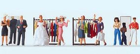 Preiser At The Fashion Shop - 8 Figures & Clothes Racks Model Railroad Figures HO Scale #10586