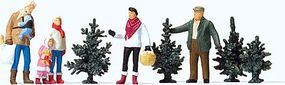 Preiser Christmas Tree Lot - with 4 Trees Model Railroad Figures HO Scale #10627