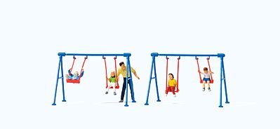 Preiser Kg HO Children (4) Playing on Swing Set & Adult