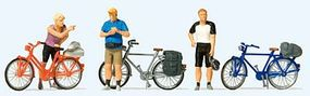 Preiser Standing Cyclists in Sportswear with Bikes Set #2 Model Railroad Figures HO Scale #10644