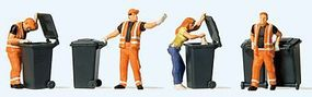 Preiser Garbage Collection - 4 Figures & Carts Model Railroad Figures HO Scale #10651
