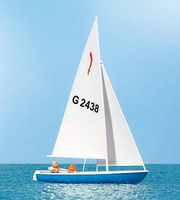 Preiser Sailing Boat w/ Sailors #3 - HO-Scale HO Scale Model Railroad Vehicle #10679