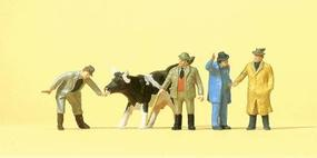 Preiser Working People - Cattle At Market with Figures Model Railroad Figures HO Scale #14039