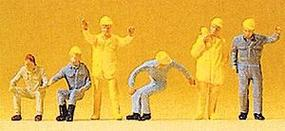 Preiser People Working Crane Personnel (6) Model Railroad Figures HO Scale #14128