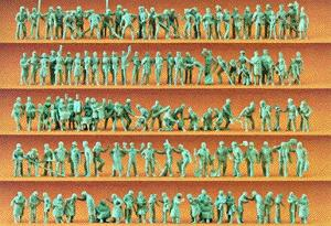 Preiser Unpainted Figure Set - Tradespeople Model Railroad Figures HO Scale #16326