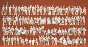 Preiser Assorted Unpainted Figures - At The Train Station Model Railroad Figures HO Scale #16352
