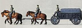 Preiser WWII Horse-Drawn Supply Wagon with 4-Horses Model Railroad Figures Kit HO Scale #16512
