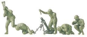 Preiser Former German Army WWII Unpainted Mortar Crew Model Railroad Figures HO Scale #16540