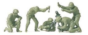 Preiser German Army WWII Unpainted Fighting Mortar Crew Model Railroad Figures HO Scale #16541