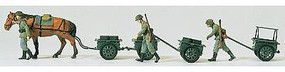 Preiser German Army WWII Horse & Hand-Drawn Infantry Model Railroad Figures HO Scale #16547